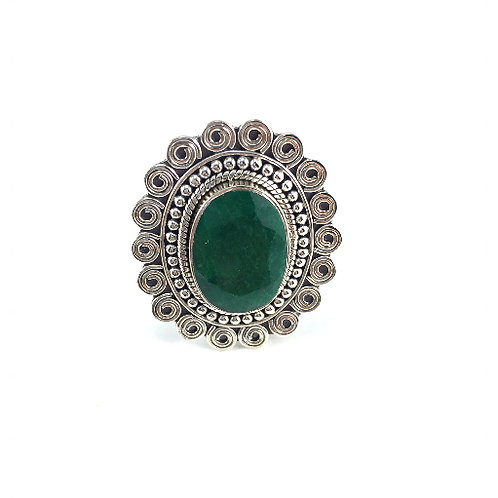 Scrolled Emerald Ring