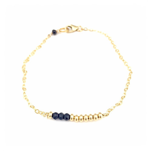 Gold Chain Bracelet with Black Spinal