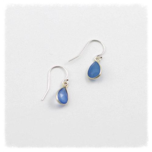Silver Bezeled Blue Calcedony Earrings