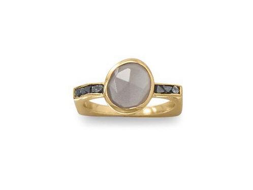 Moonstone and Natural Diamond Ring