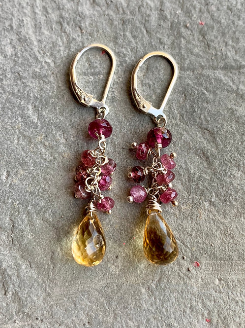 Citrine & Tourmaline Cluster Earrings