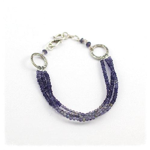 Iolite and Labradorite Triple Bracelet