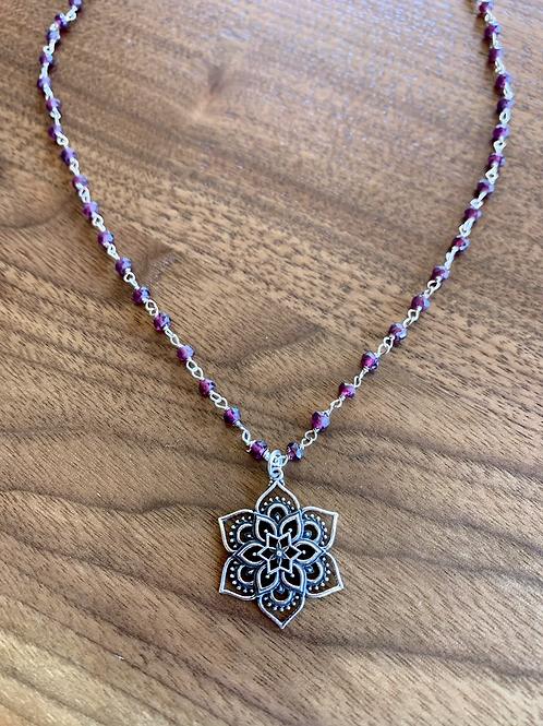 Sterling Silver Flower Mandala Necklace