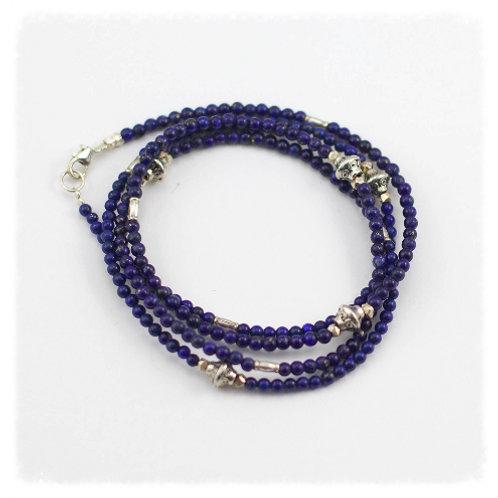 Lapis and Silver Four Wrap Bracelet