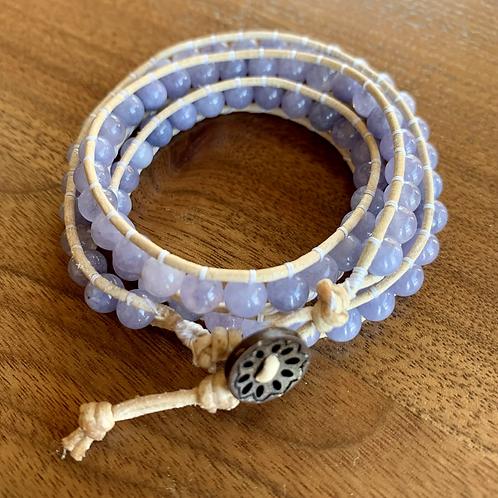 Tanzanite Triple Leather wrap Bracelet