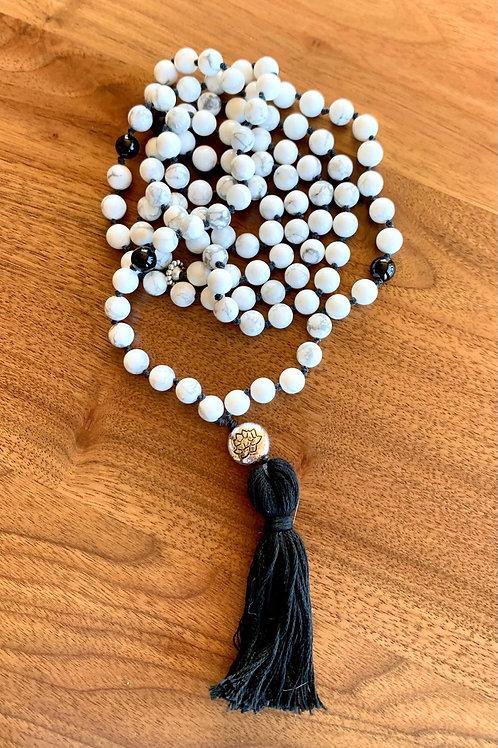 Howlite and Onyx Mala Necklace