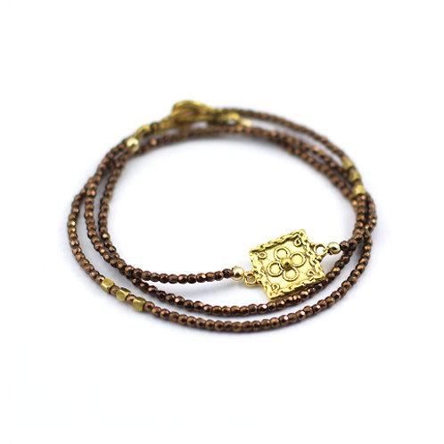 Copper Dyed Hematite Triple Wrap Bracelet