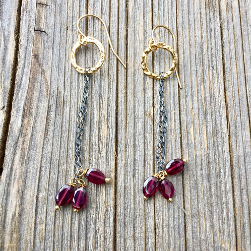 Trio Garnet Drop Earrings