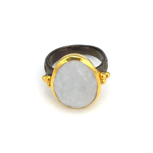 Gunmetal & 14k Gold Vermeil  Moonstone Ring