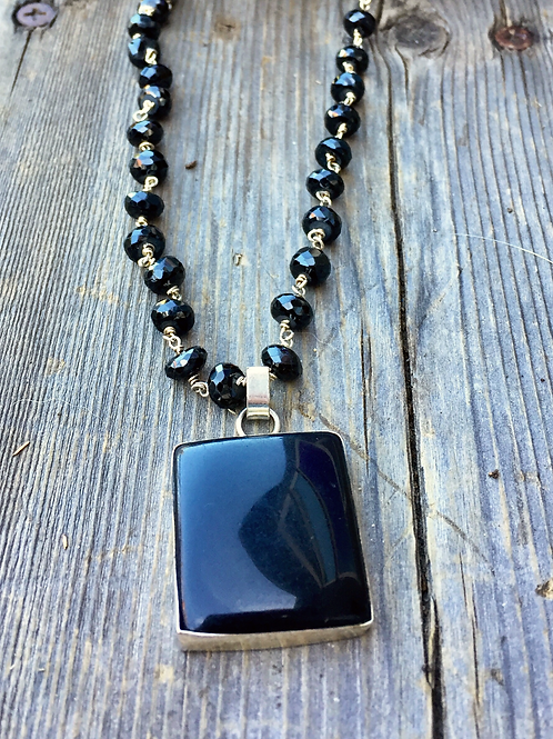 Black Spinel Rosary with Pendant