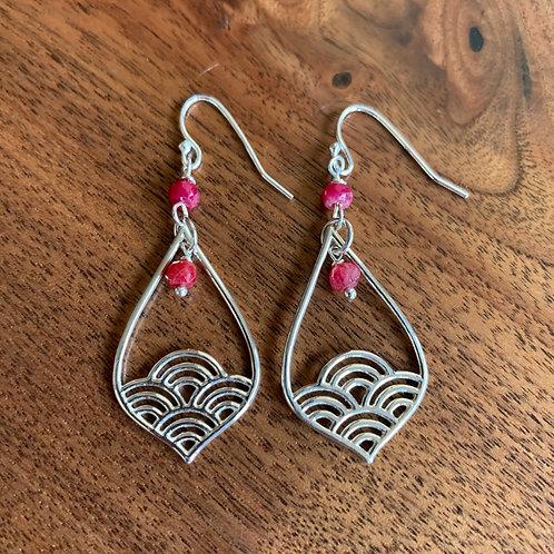 Ruby Lotus Earrings