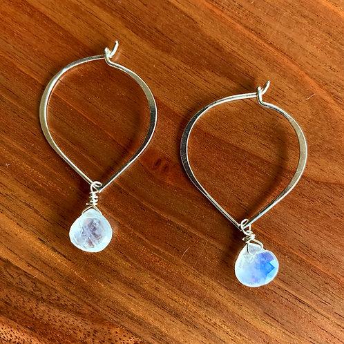 Silver moon lotus earrings