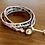 Thumbnail: Ruby-Sapphire mix Triple Wrap Leather Bracelet