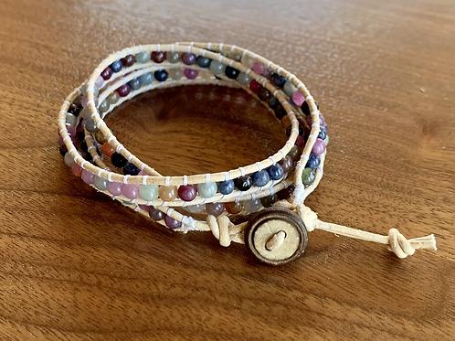 Ruby-Sapphire mix Triple Wrap Leather Bracelet