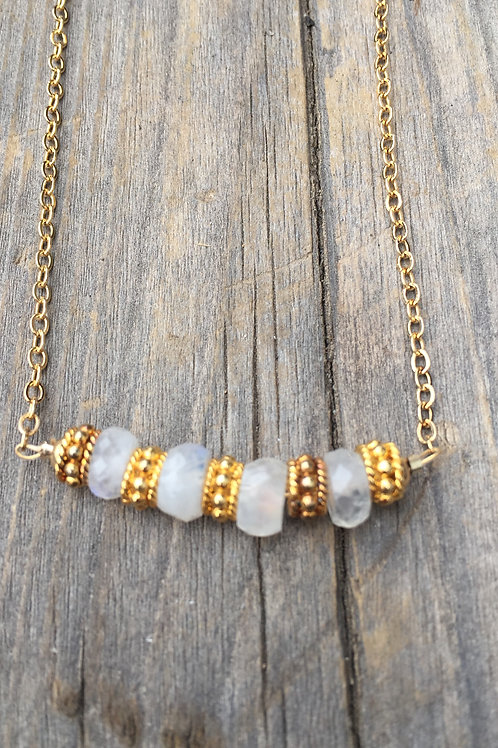 Moonstone and Gold Bar Necklace