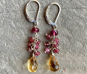 Pink Tourmaline and Citrine; Citrine & Tourmaline Cluster Earrings; Handmade Artisan Jewelry