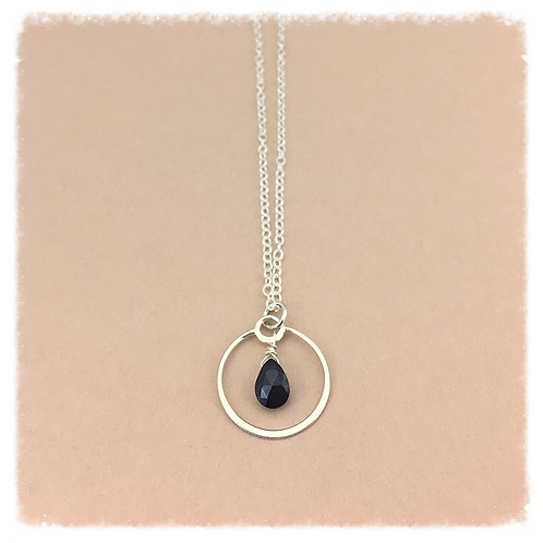 Black Spinel Teardrop and Circle Pendant