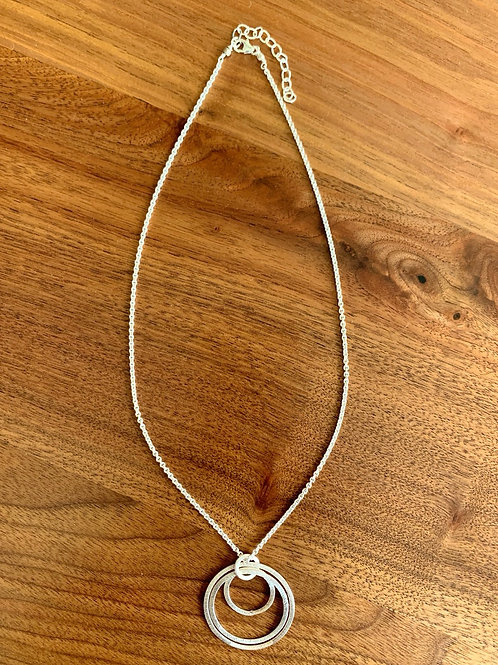 Brushed Silver Triple Hoops Necklace