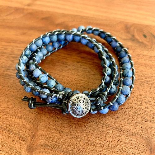Matte Lapis Triple Wrap Leather Bracelet