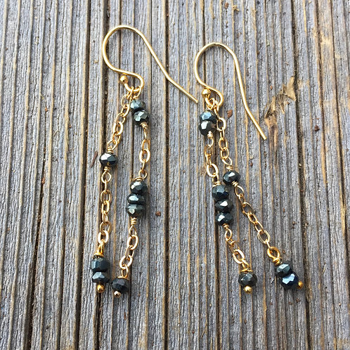 Gold and black Spinal Chain drop Earrings
