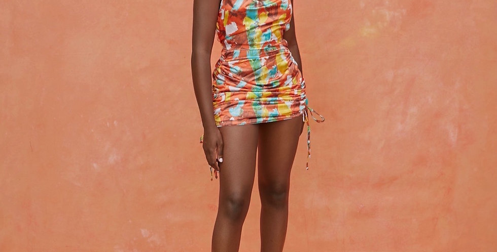 RILEY DRESS | Riviera orange print