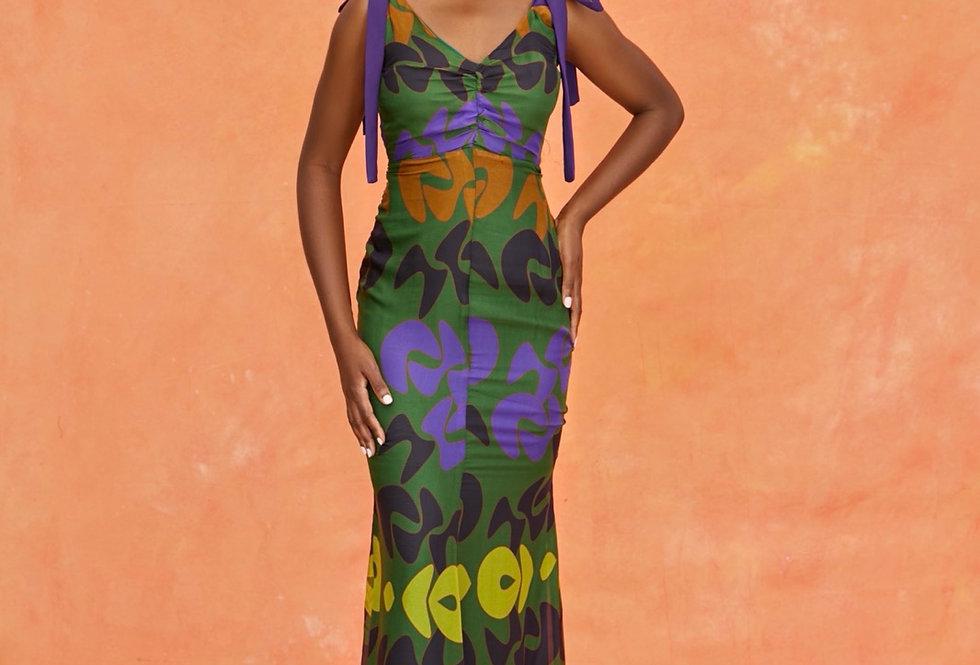 KELLY DRESS | Boomerang Green Print