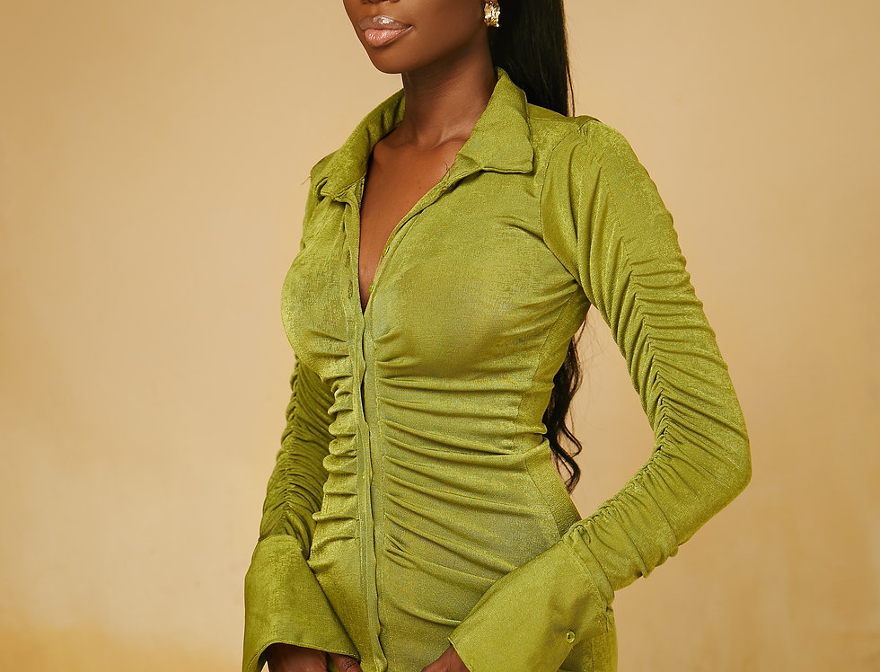 ARLENE DRESS OLIVE