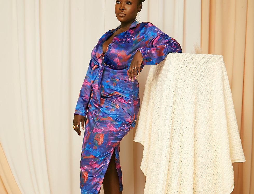 FARAH DRESS   Riviera Blue print