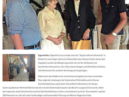 PNP-Artikel über den Tag des offenen Denkmals