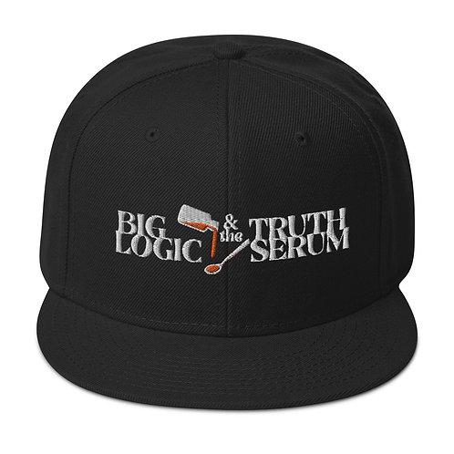 Text Logo Snapback Flat Brim Hat