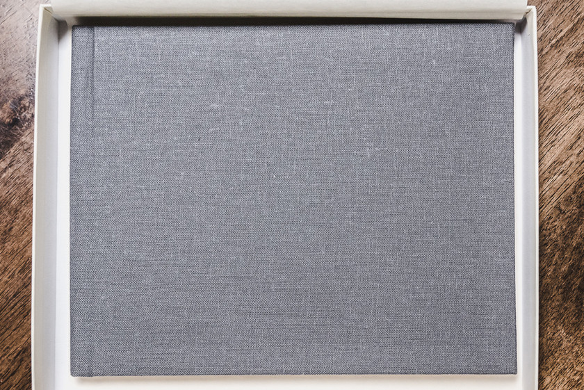 Andria Grodzinsky Photography Contemporary Photo Album stop down view showing grey linen cover