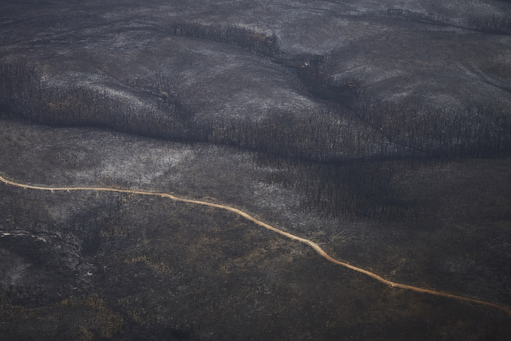 An aerial image of bushfire ravaged Kangaroo Island, South Australia on Thursday the 16th of January 2020. Shot for the NYTimes.