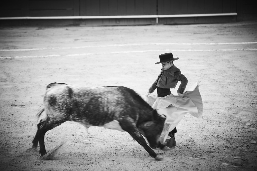 """Cristóbal Arenas Moncayo is 10 years old: """"To fight a bull is something beautiful, there are a lot of emotions… adrenaline, excitement and the danger is always there. As a torero you are always afraid but this is normal, it makes you stronger and helps you to take control of your fear… from that point you move ahead."""" From the series 'Little Bullfighters' a personal project. Shot in June 2016."""
