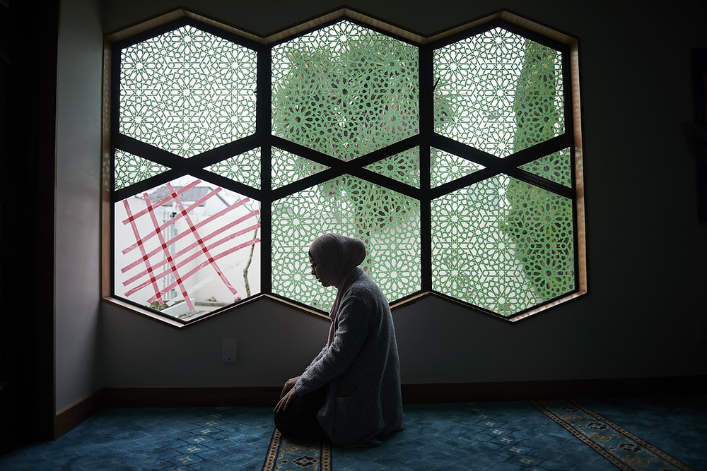 Sondos Qur'aan praying inside Masjid Al Noor mosque in Christchurch, New Zealand on Friday the 23rd of August 2019. Shot for the NYTimes.