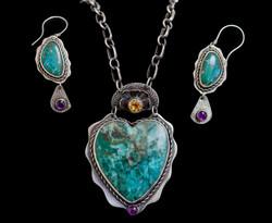 Chrysocola Heart set