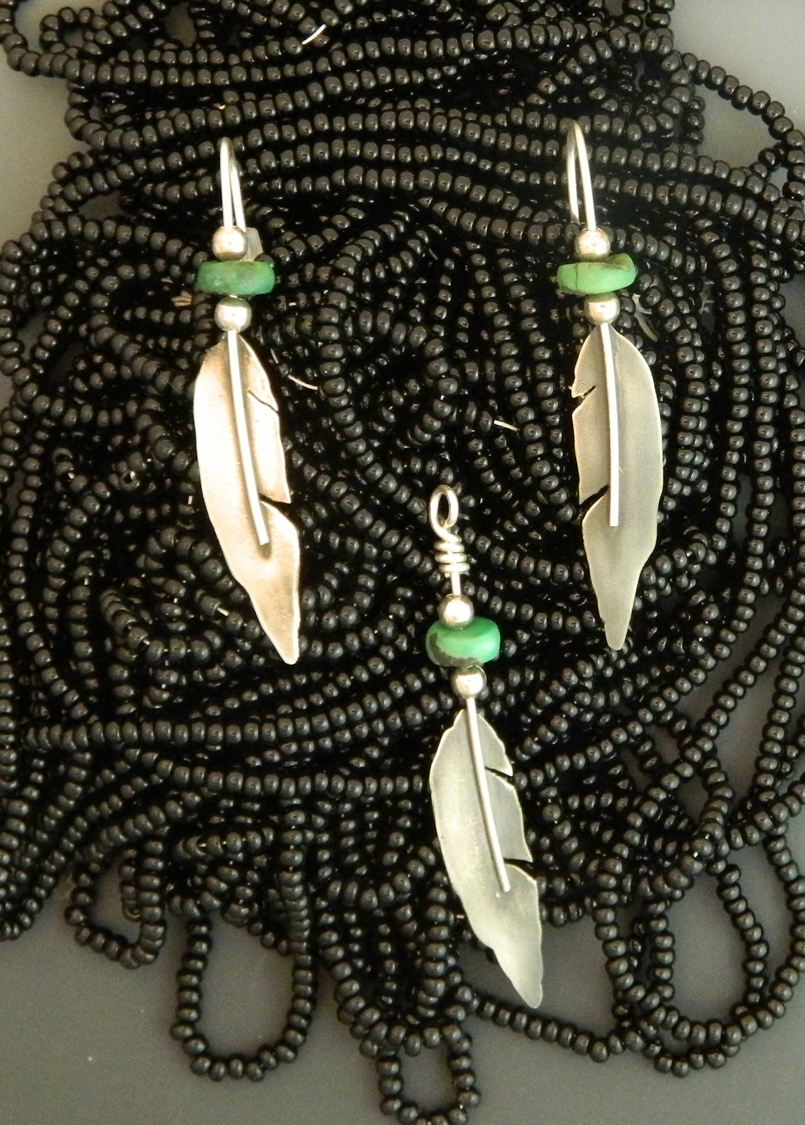 Turquoise & Silver Raven Feathers