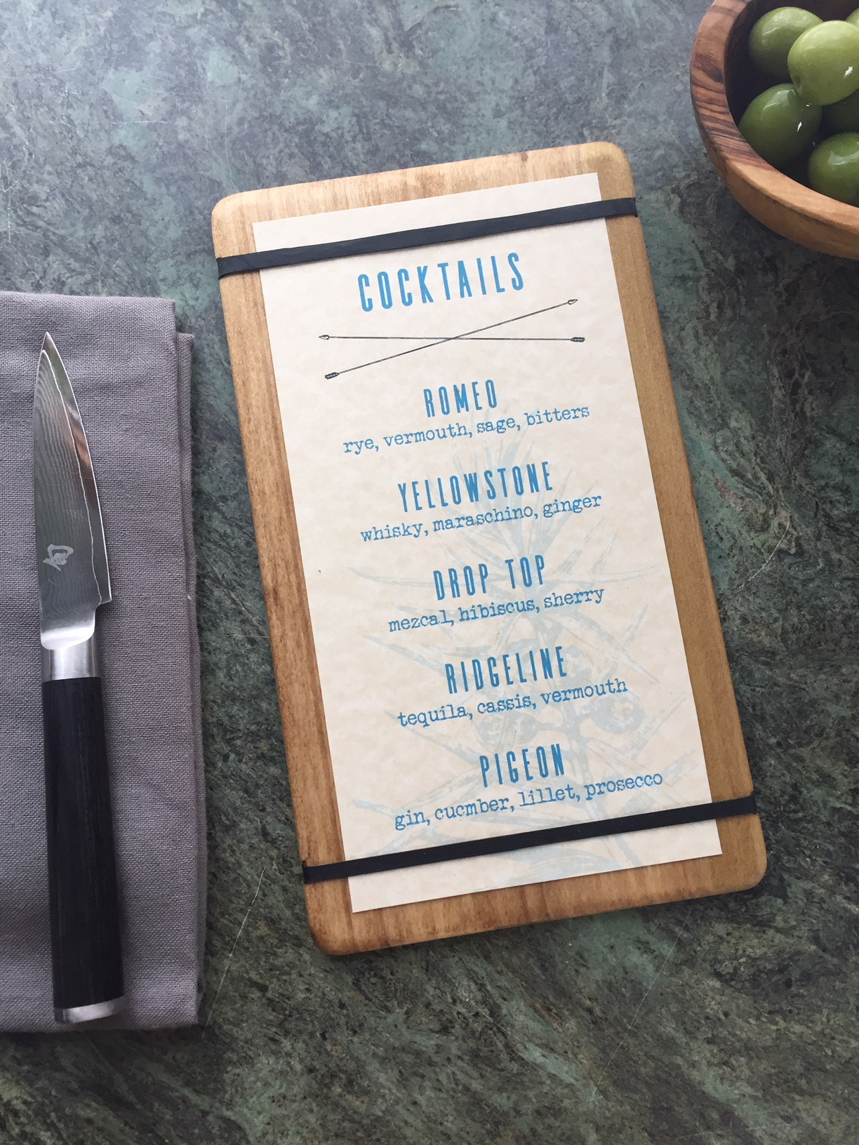 Rubber Band Menu Board