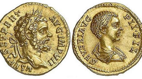 First issues of the Rome mint introducing Caracalla as heir to the imperial throne. 195 and 196 AD.