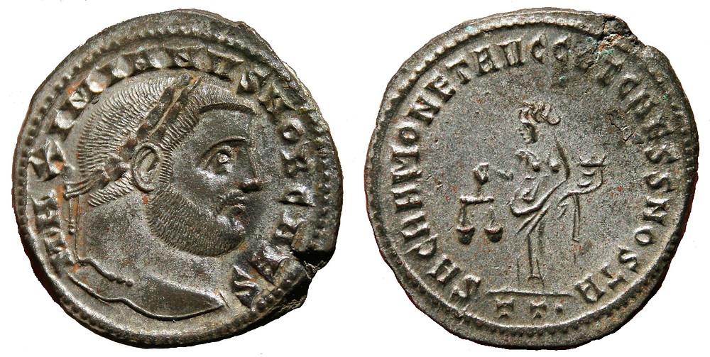 Follis Ticinum in the name of Caesar Galerius Maximianus