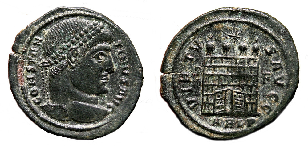AE3 (Centenonial) coined in the first office of Arelate in the name of Constantine I.