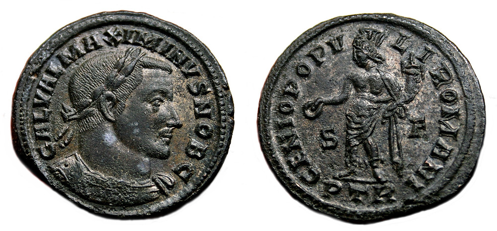 Follis coined in the first office of Treveris in the name of Caesar  Galerius Maximianus