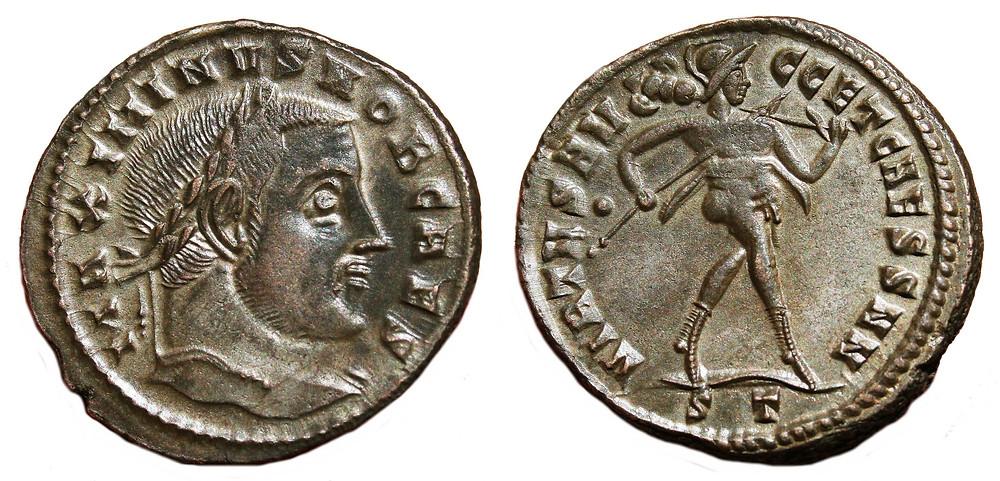 Follis Ticinum on Caesar Maximinus Daia