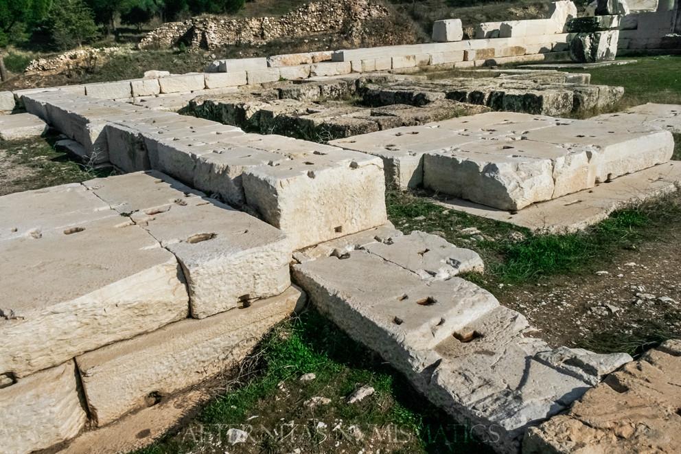 Roman walls of marble ashlar, Sardes, Turkey