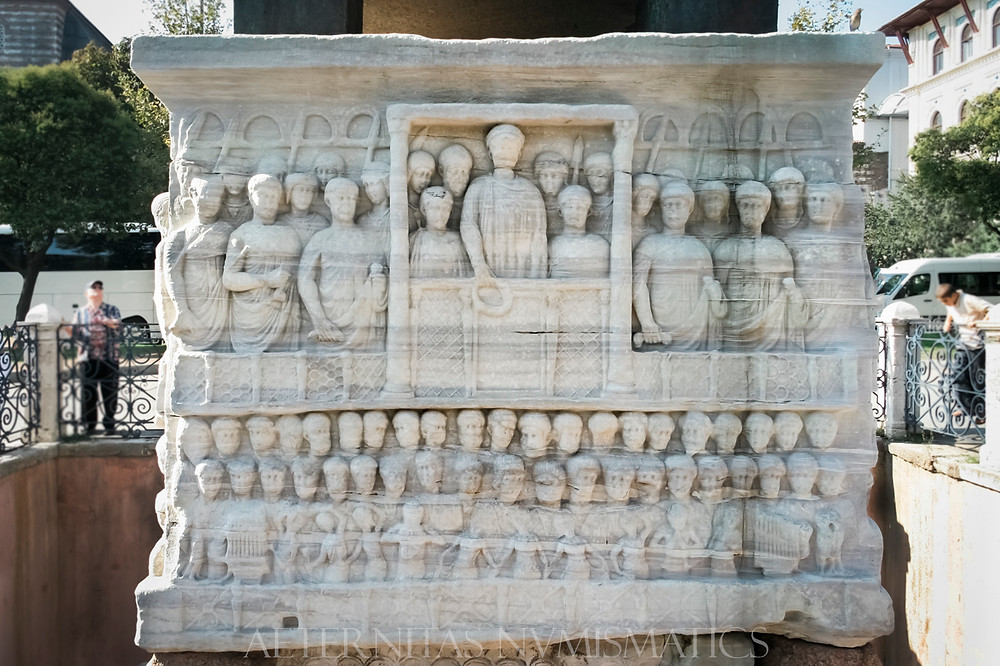 Carved base of one of the obelisks that occupied the spina of the great hippodrome of Constantinople.