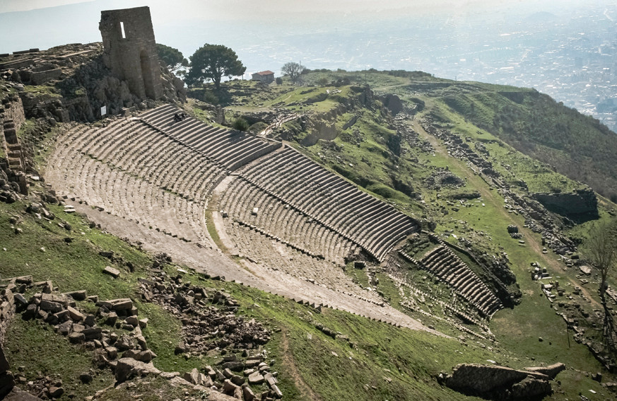 The magnificent Hellenistic theater of Pergamon seen from the Trajaneum platform.