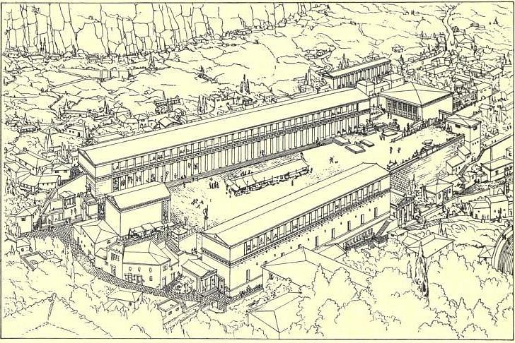 Artistic representation of the Assos Agora, Turkey