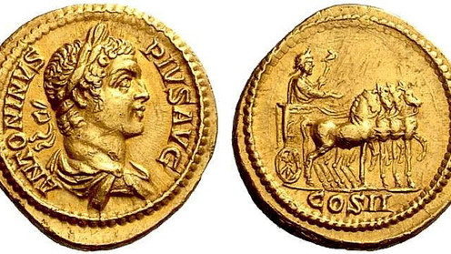 Coinage of the Rome mint commemorating the appointment as consuls of Caracalla and Geta in AD 205.