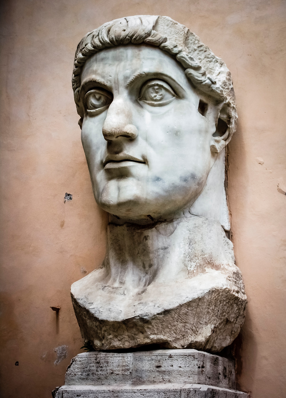 Colossal bust of Constantinus which belonged to the statue of him located in the basilica built by his enemy, Maxentius.