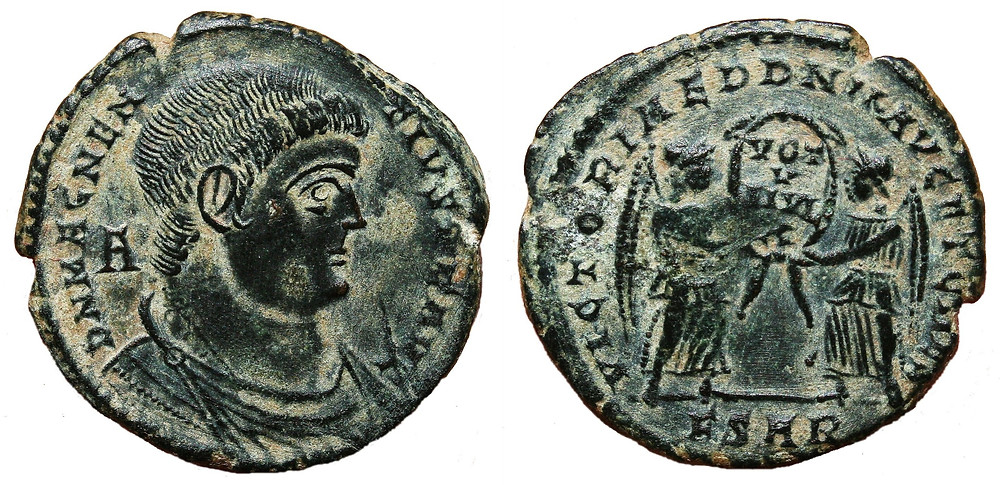 Maiorina struck in the name of the usurper Magnentius in the second office of the mint.