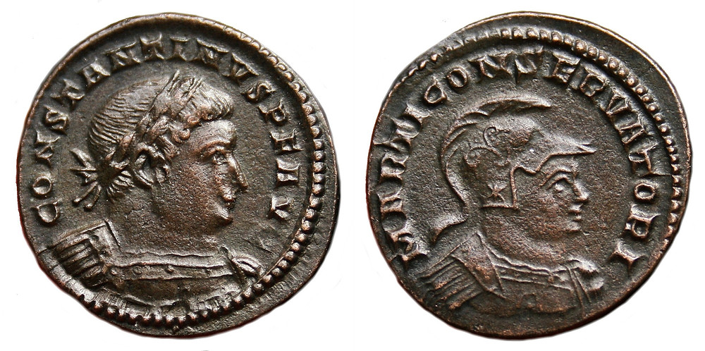 Reduced Follis coined in Treveris in the name of Constantine I